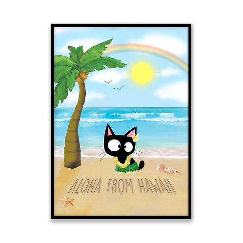 Aloha From Hawaii Cat - 5x7 Framed Art