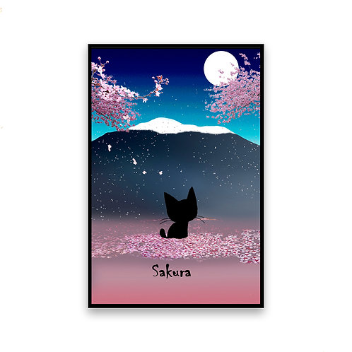 Sakura Night Cat Magnet