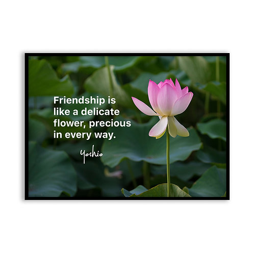 Friendship is like a delicate flower - 5x7 Framed Art - Original Quote by Yoshio