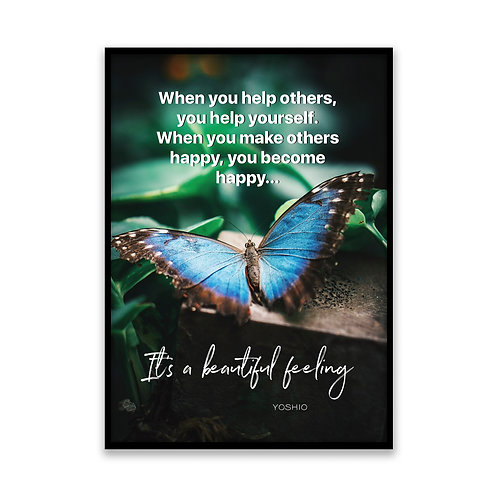 When you help others... - 5x7 Framed Art - Original Quote by Yoshio