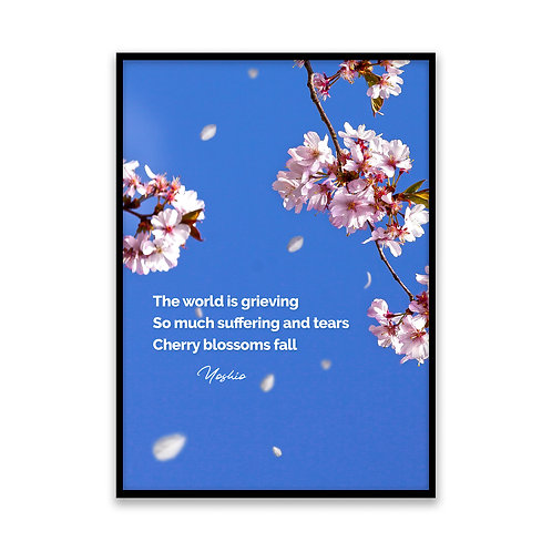 The world is grieving... - 5x7 Framed Art - Original Haiku by Yoshio