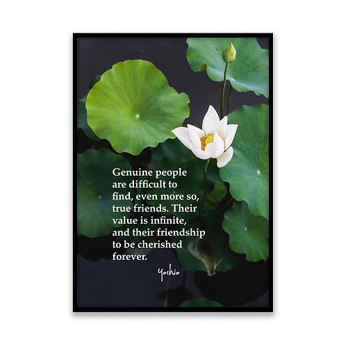 Genuine people - 5x7 Framed Art - Original Quote by Yoshio