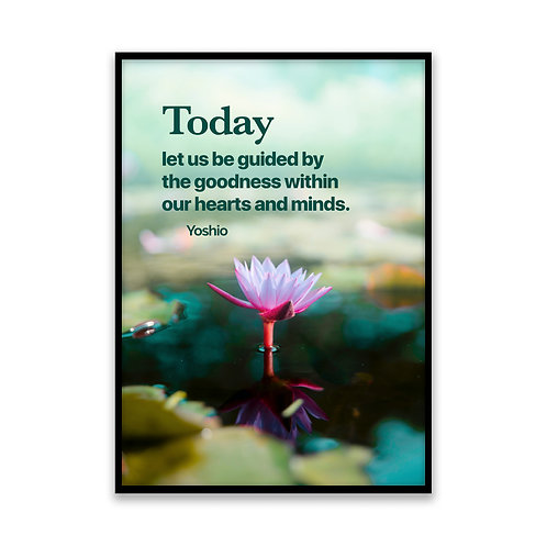 Today let us be guided... - 5x7 Framed Art - Original Quote by Yoshio