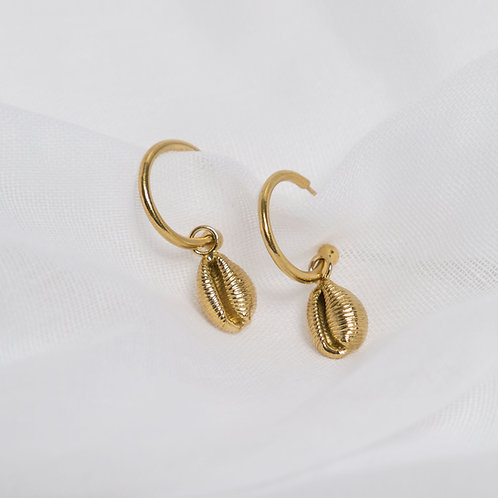 Gold Cowrie Shell Charm Hoops