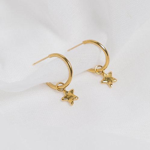 Gold Little Star Charm Hoops