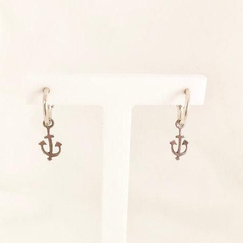 Anchor Huggy Charm Hoops