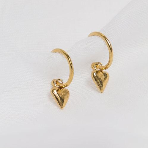 Gold Midi Heart Charm Hoops