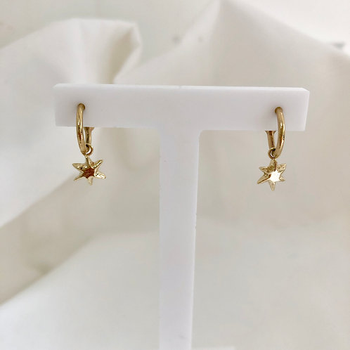 North Star Huggy Charm Hoops Gold
