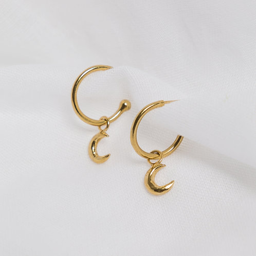 Gold Luna Charm Hoops