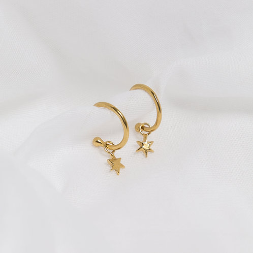 Gold North Star Charm Hoops