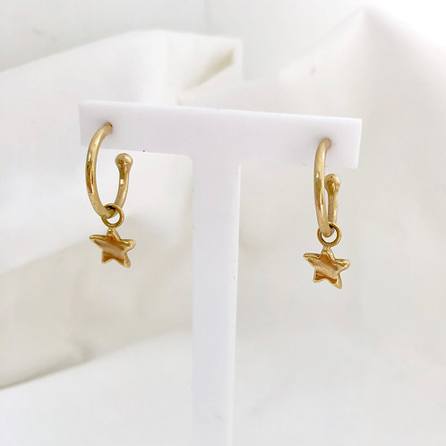 Little Star Charm Hoops Gold