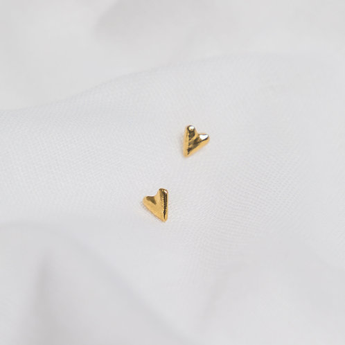 Gold Dinky Heart Studs