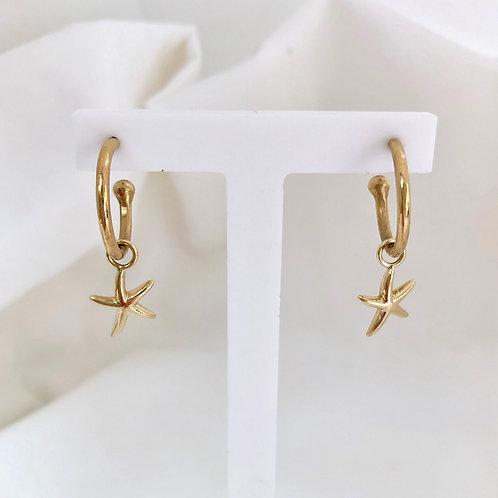 Starfish Charm Hoops Gold