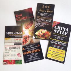 Cheap A4 Takeaway Restaurant Menu Printing Menu Design Included