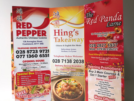 Red and Orange Chinese Takeaway Menu Printing : Free Delivery and Free Design