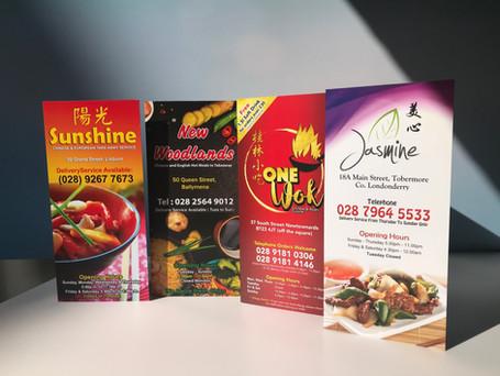 Gloss Menu Printing Folded Leaflets