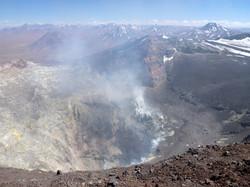 Smoking crater of Lascar volcano