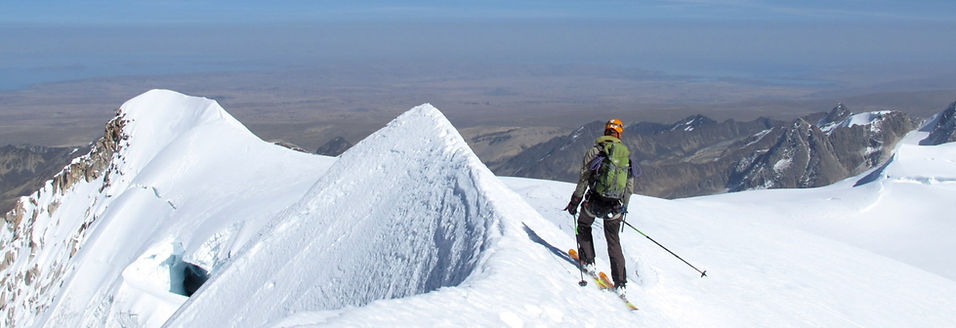skiing from Chachacomani mountain in Bolivia