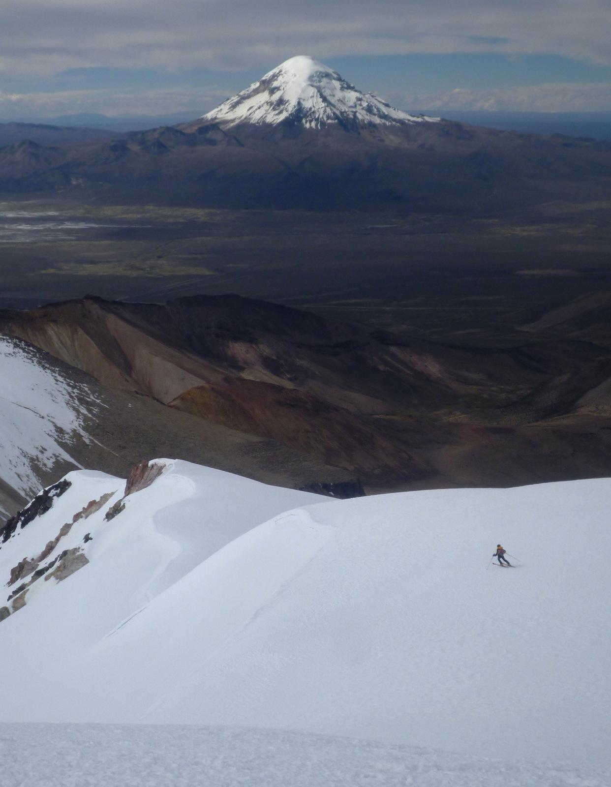 skiing with view on Sajama volcano