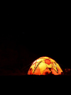 cooking tent by night