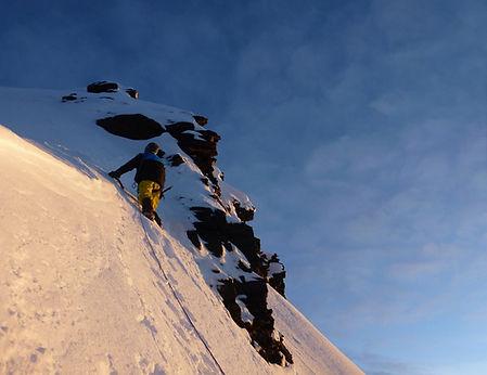 climbing to the summit ridge of Condoriri mountain