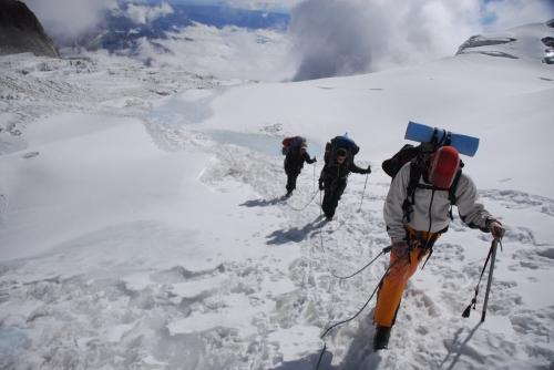 en chemin pour le camp d'altitude