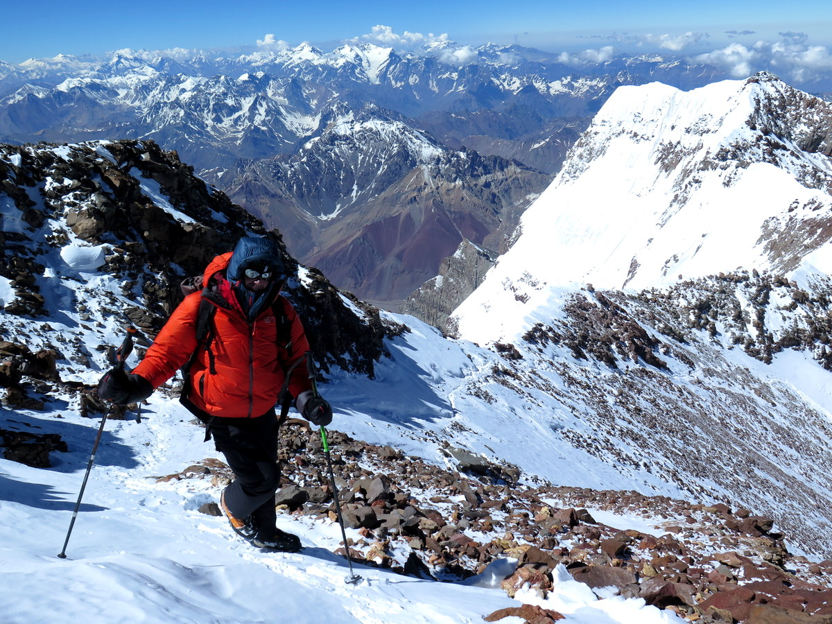 Aconcagua while reaching the summit