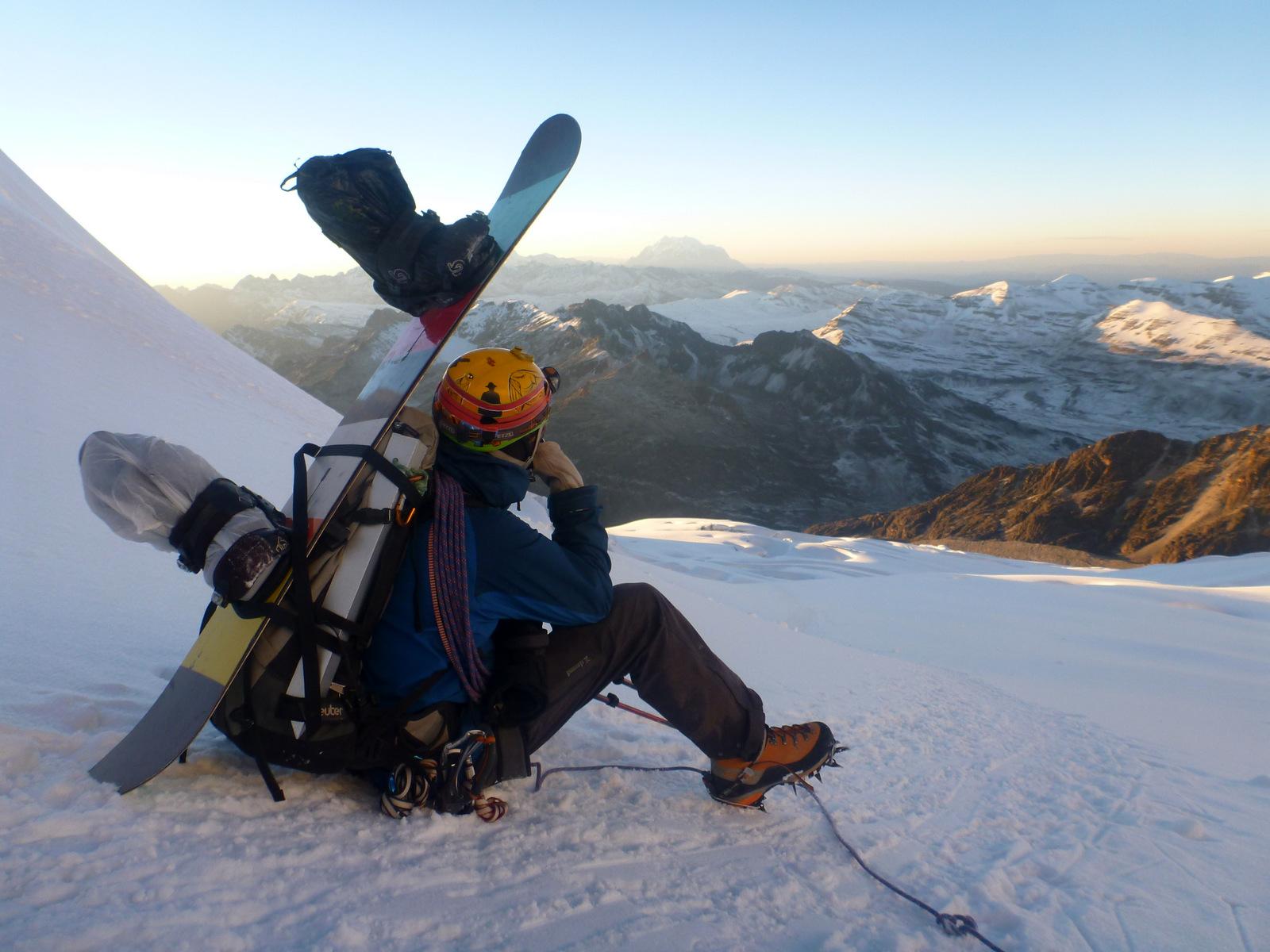 Snowboard pour le Huayna Potosi