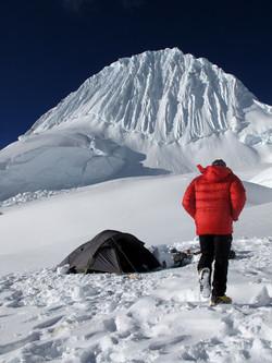 High camp at the base of Alpamayo