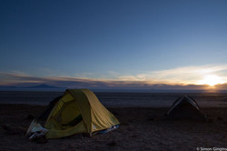 camping on the shores of the Salar