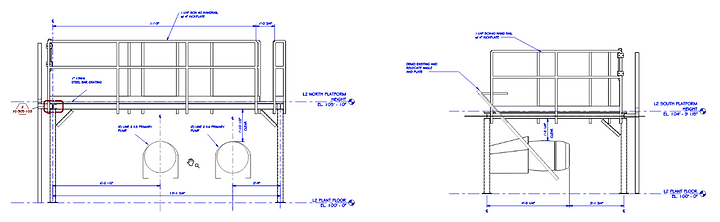 Drawings of Access Platforms with an Integrated Motor Lift