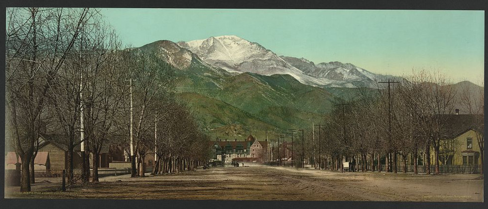 Pikes Peak from Pikes Peak Avenue, circa 1898, Library of Congress