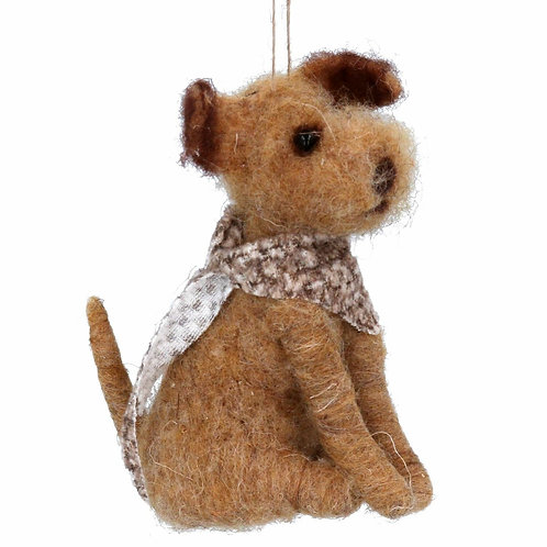 Gisela Graham Christmas - Wool Decoration 12cm - Brown Dog w Scarf