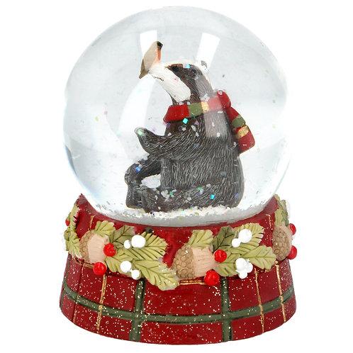 Snow Globe 8cm - Tartan Badger