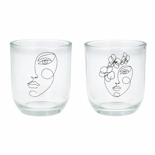 A Pair Of Gisela Graham T-Lite Tealight Candle Holders With Faces
