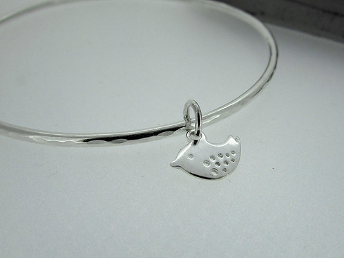 Handmade Hammered Sterling Silver Bangle With a Bird Charm