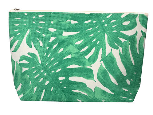 Gisela Graham Green Leaves Canvas Zip Wash Bag / Makeup Pouch