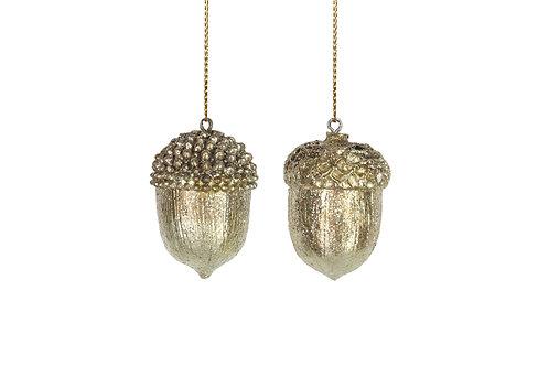 Single gold acorn hanging decoration