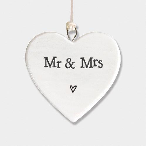 Mr & Mrs Small Porcelain Heart