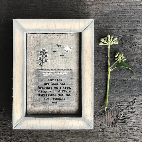 Embroidered box frame-Families are branches