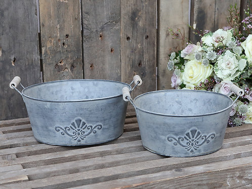 Set of 2 French Antique Zinc Flower Pots with decor and Wooden Handles