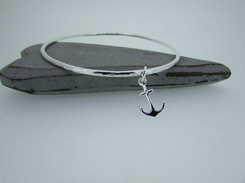 Handmade Hammered Sterling Silver Bangle with Anchor Charm