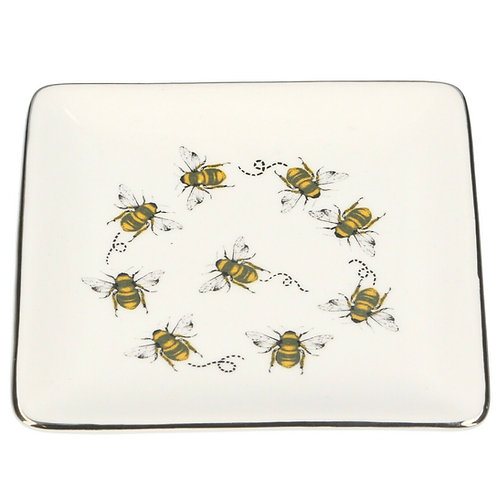 Gisela Graham Bee Ceramic Square Trinket Dish