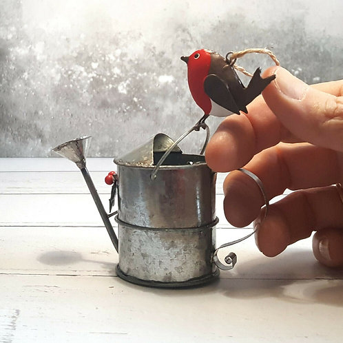Painted metal robin on watering can, Christmas hanging decoration, festive decor