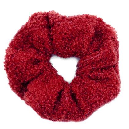 Scrunchie teddy hair tie Red