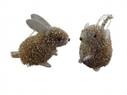 Gisela Graham Bristly Rabbit and Mouse Tree Decorations