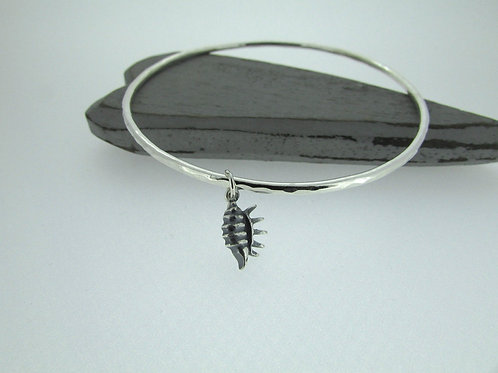 Handmade Hammered Sterling Silver Bangle with Conch Shell Charm