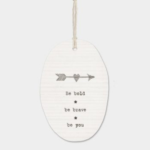 Be Bold Oval Porcelain Wall Hanging