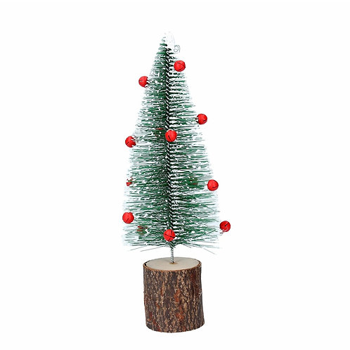 Gisela Graham Christmas - Bristle Tree 21cm - Green with Red Bells
