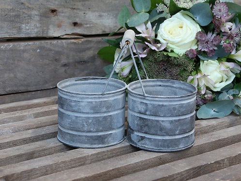Antique Style Zinc Flower Pot with Two Holders and Wooden Handle